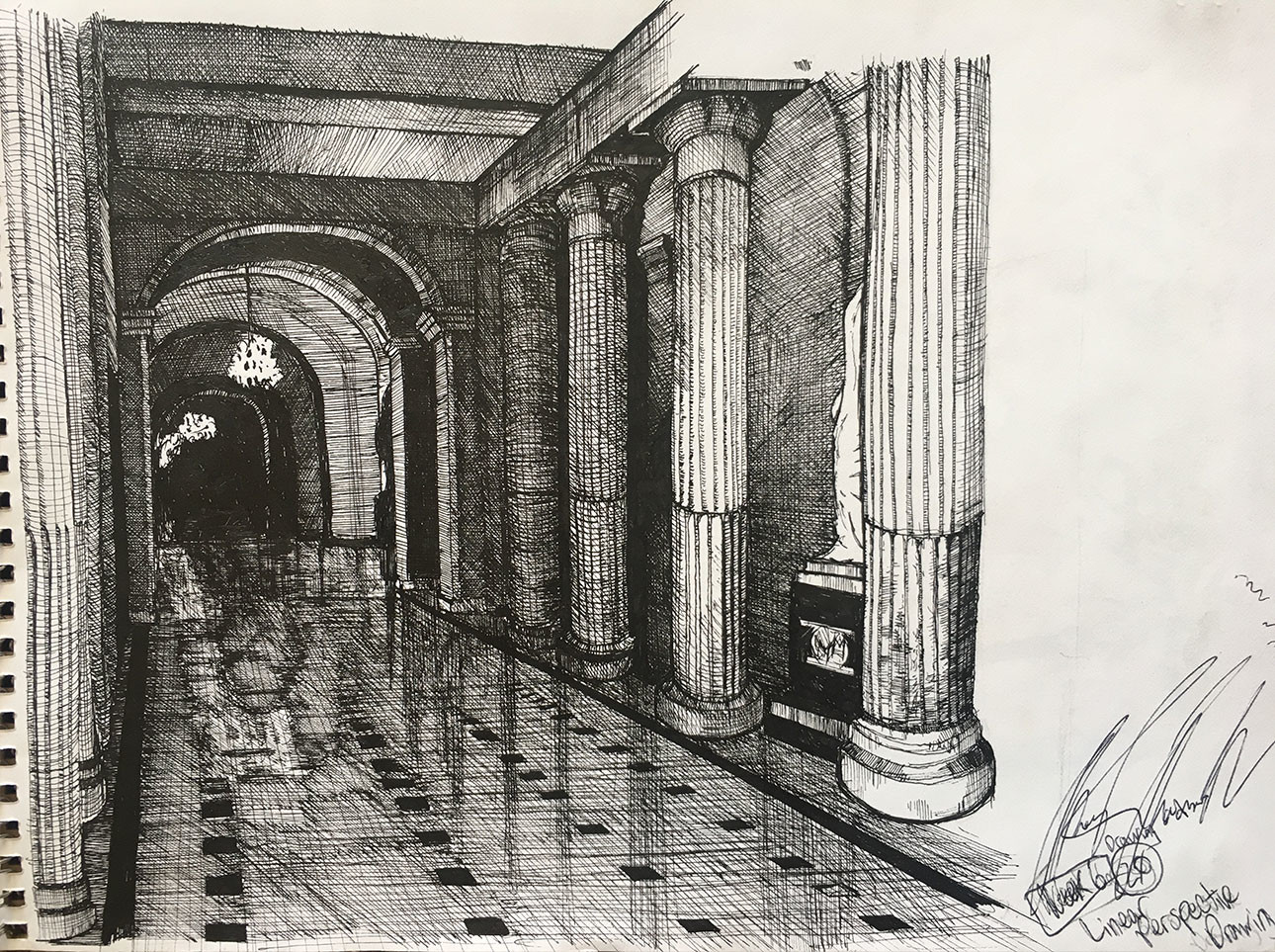 "8"" x 10"" sketchbook drawing done from a photo I took inside the D.C. Capitol Building.  The perspective is off on the columns but I was rushing to get it done for a class."