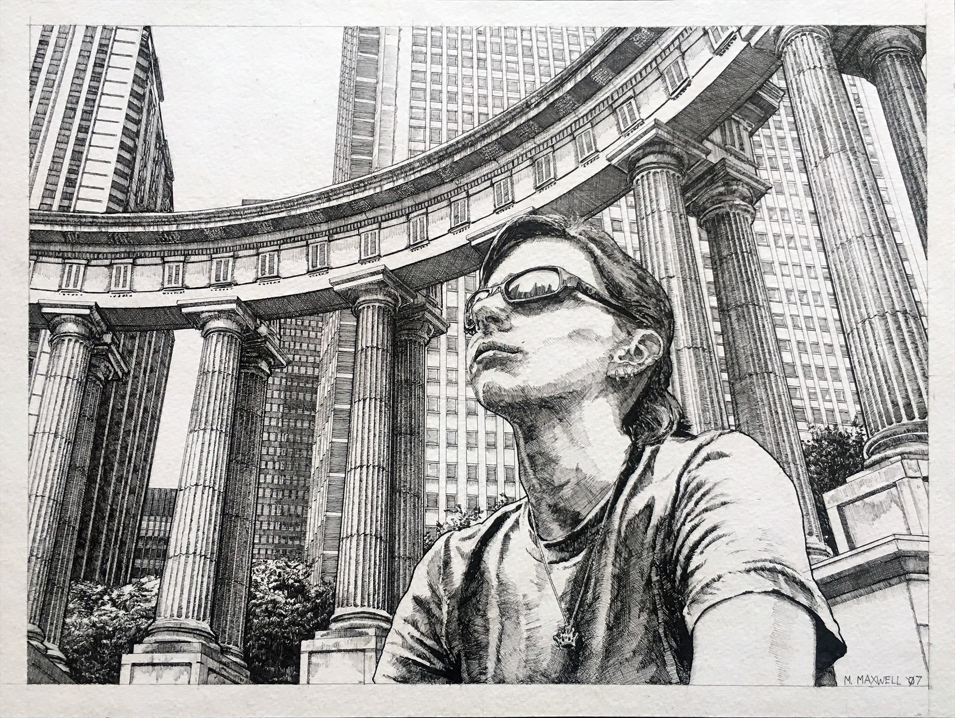 """8"""" x 10"""" pen and ink referencing a photo taken of a friend in Chicago."""