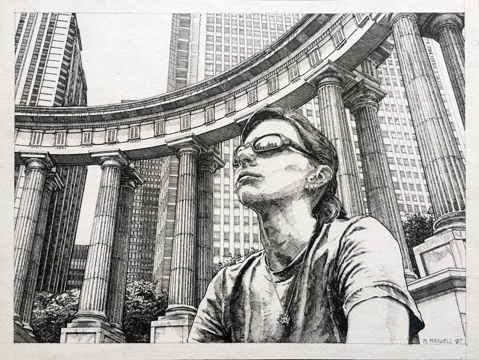 "8"" x 10"" pen and ink referencing a photo taken of a friend in Chicago."