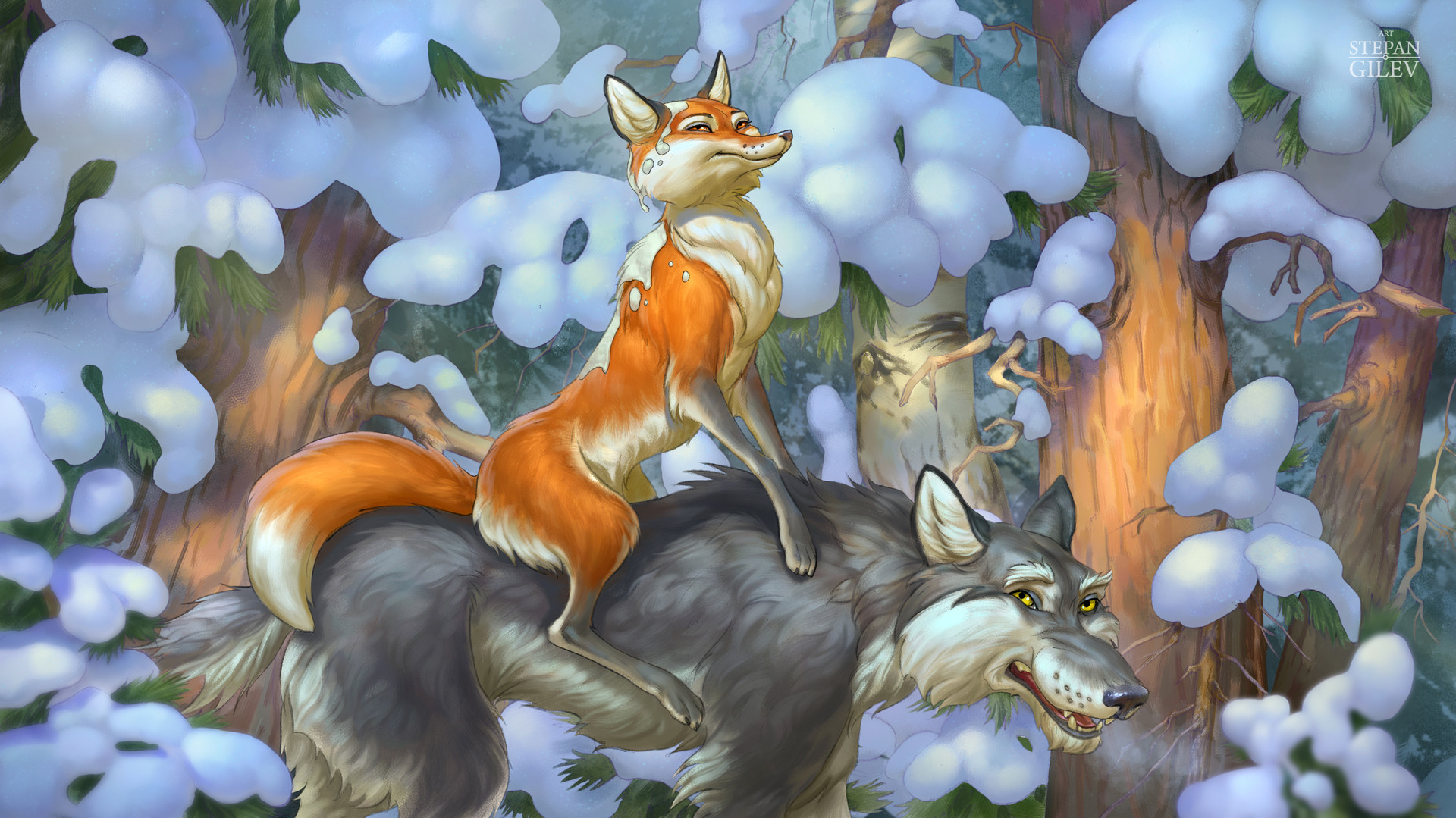 Легкий, лиса и волк в картинках