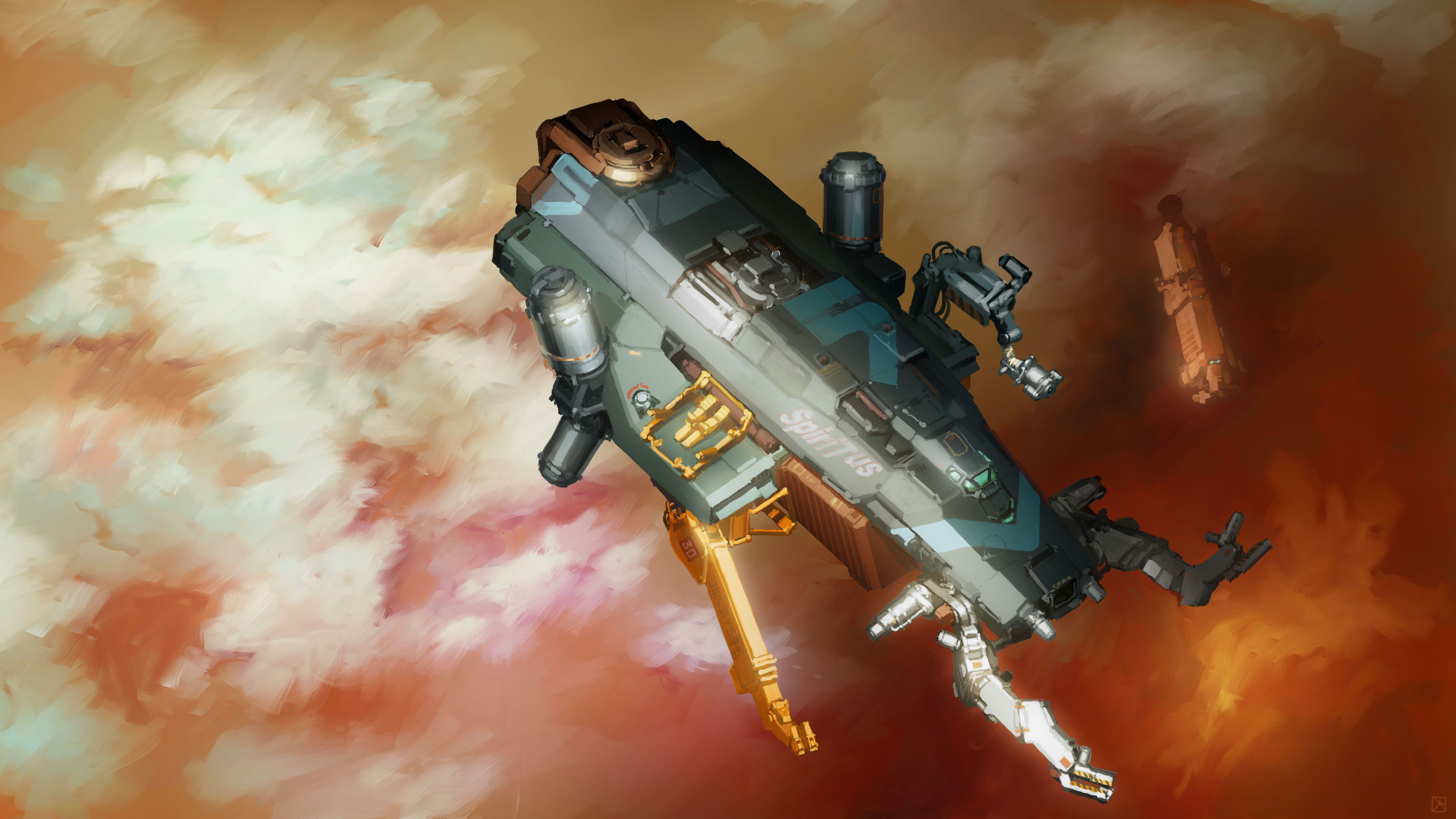 The design worked into a scene. The grav tug is lending aid to a cargo vessel having difficulty above Saturn.