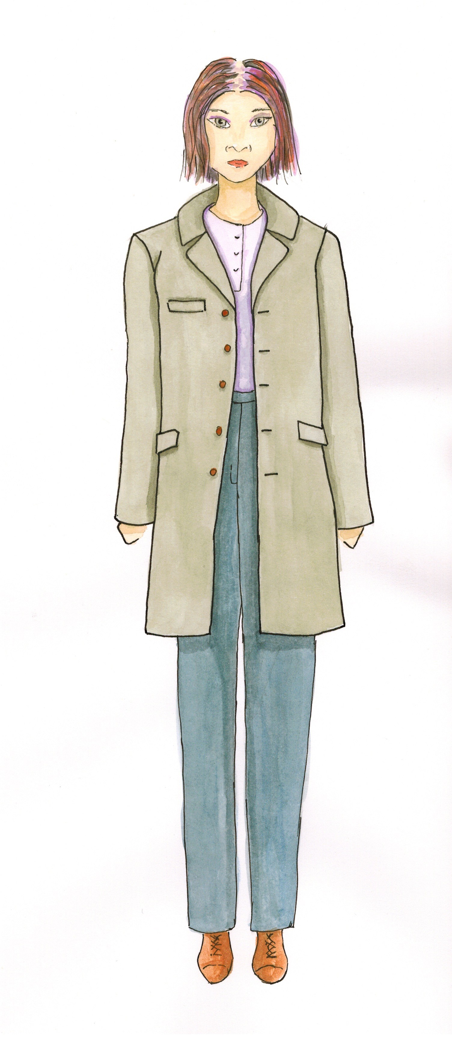 Meris mullaley fashion watercolor green jacket