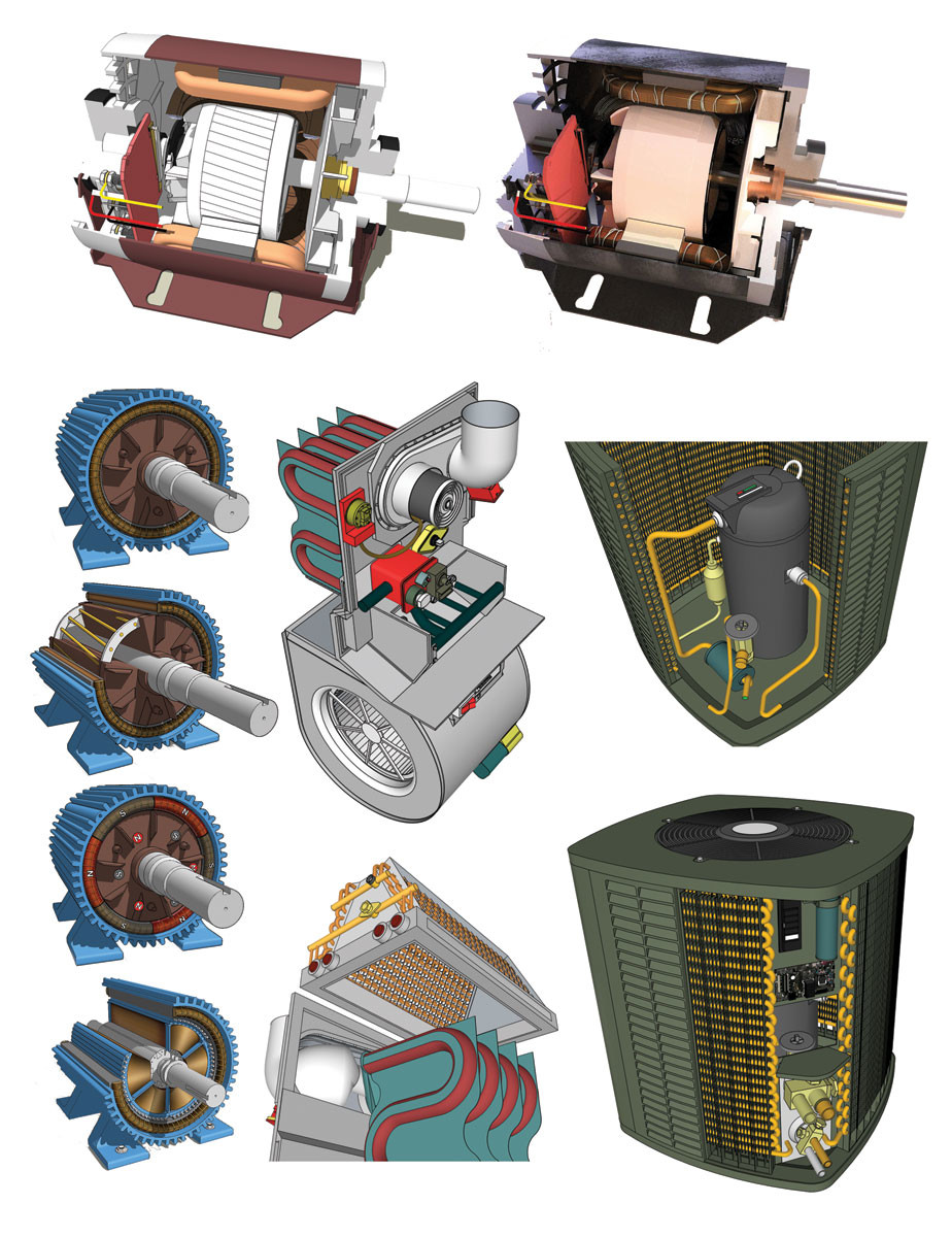 These are 3D images extracted from use in various book interiors. They were models created in SketchUp and output as EPS files for use in Illustrator. The rendered one in the upper-right was rendered using Thea Render.