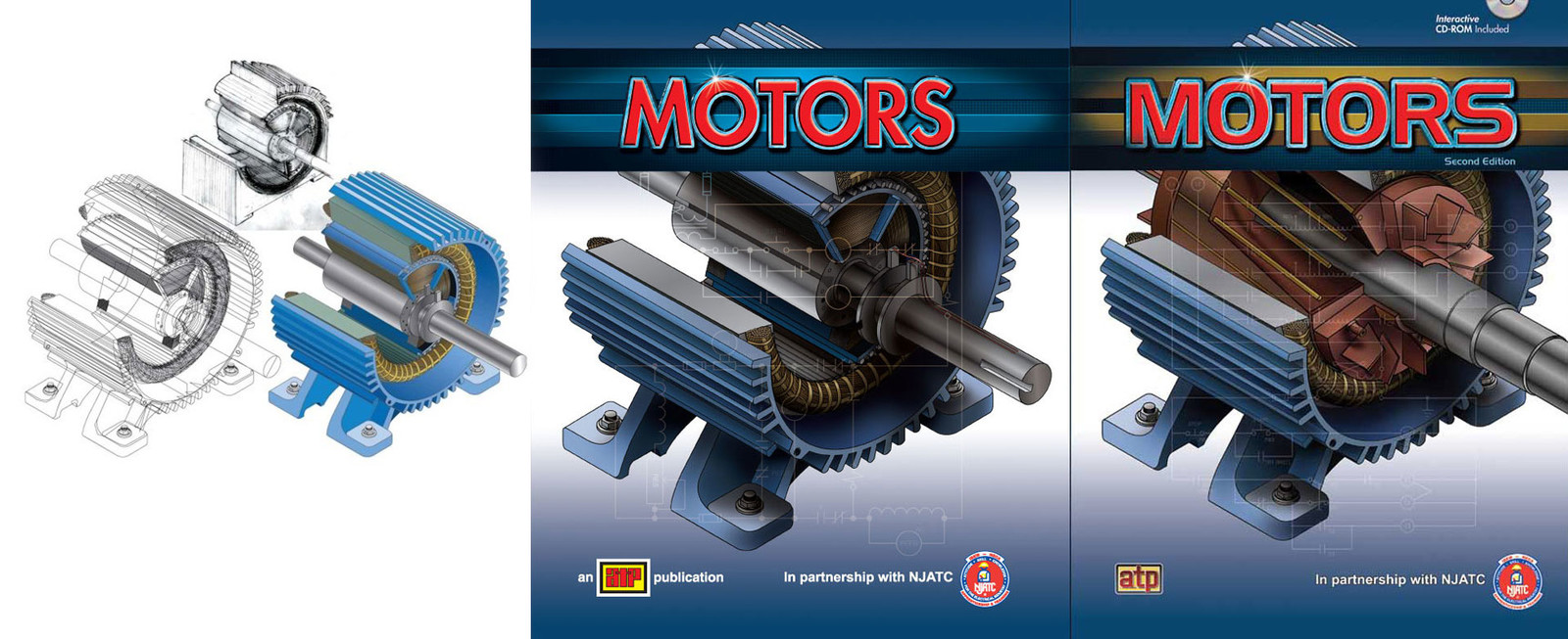 Covers from the first and second editions of Motors. These motor cutaways were hand drawn first and then recreated isometrically in Illustrator. At the time, I was just starting to learn 3D and these specific images were the inspiration to learn it.