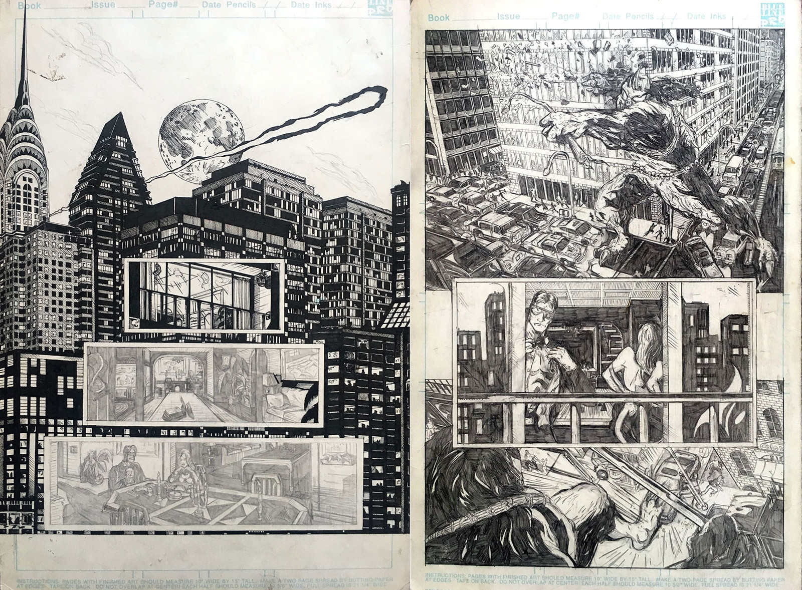 This is a 2-page spread done for Glass Door Graphics years ago. It was drawn to a sample X-Men script. I had started to ink page 1 for my own gratification but never finished. This was right before I switched to tech pens to do cityscape illustrations.