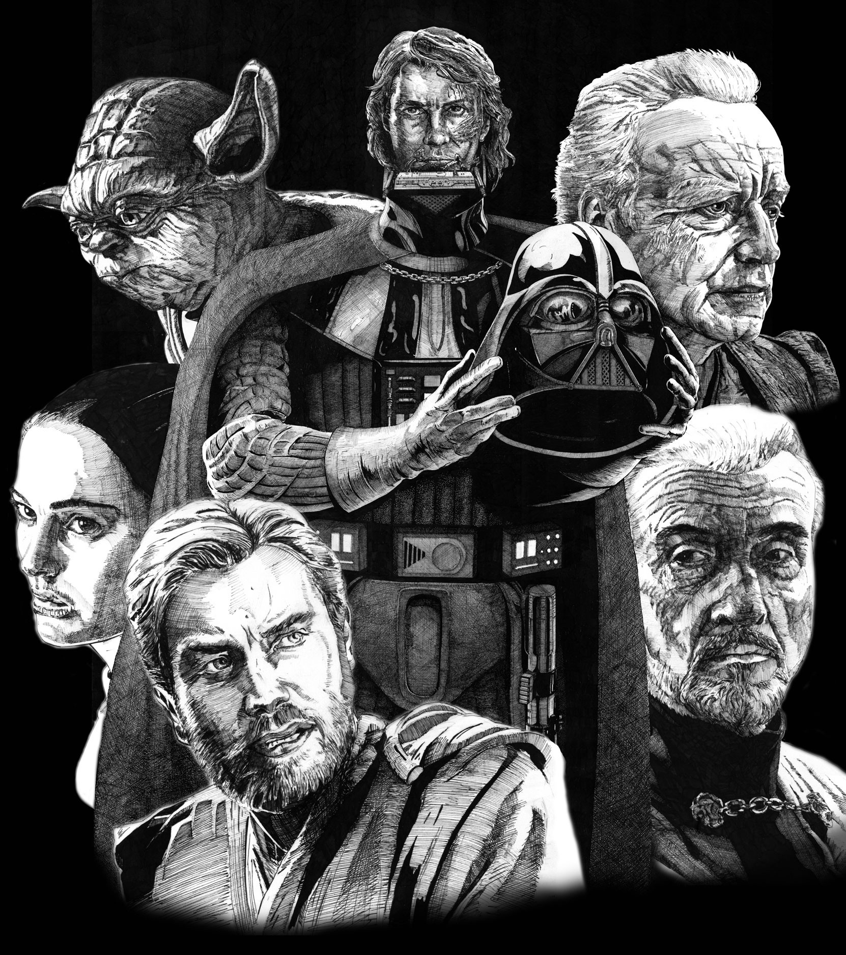 """Initial composition done before coloring individual characters so I could determine a unified color scheme. The central figure of Anakin was drawn a bit larger on actual 27"""" x 41"""" board than the other characters."""