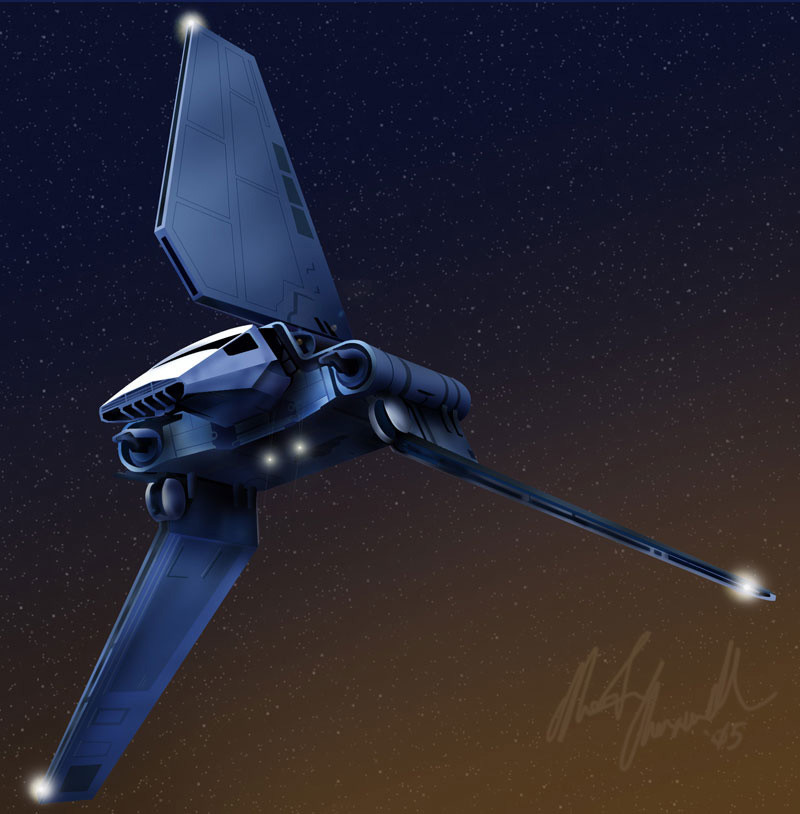 Imperial shuttle, drawn in Adobe Illustrator and colored in Photoshop