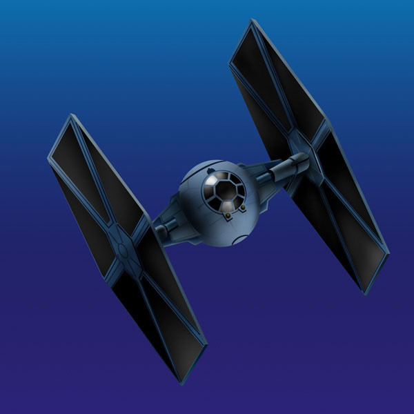 TIE fighter, drawn in Adobe Illustrator and colored in Photoshop