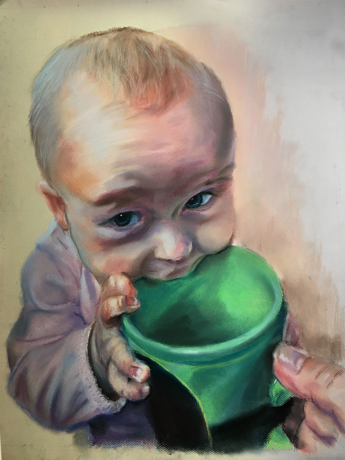 "Final portrait on 18"" x 24"", soft pastels on paper"