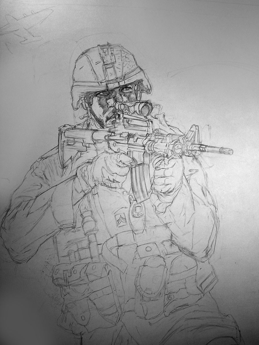 "Pencils of the central Soldier roughed in at full scale 27"" x 41"" on bristol board"