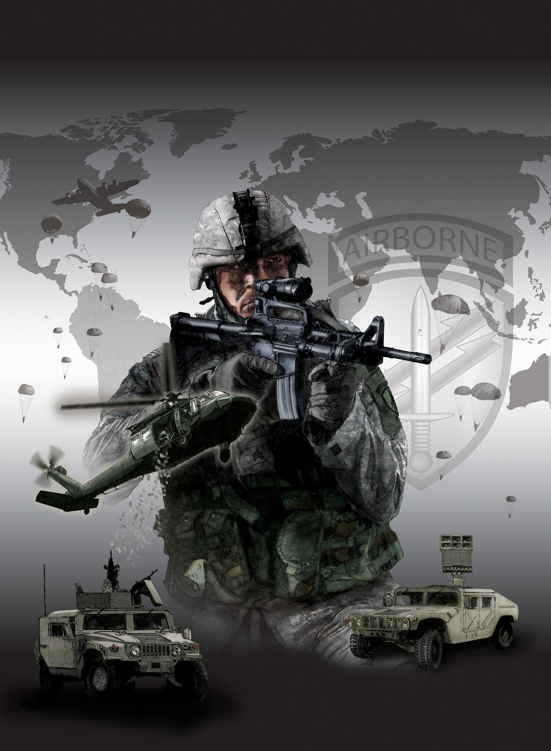 Coloring done in Photoshop and compositing with the background vector elements, such as the Civil Affairs/PSYOP (USACAPOC) patch and world continents were done in Illustrator by Douglas Weckesser.