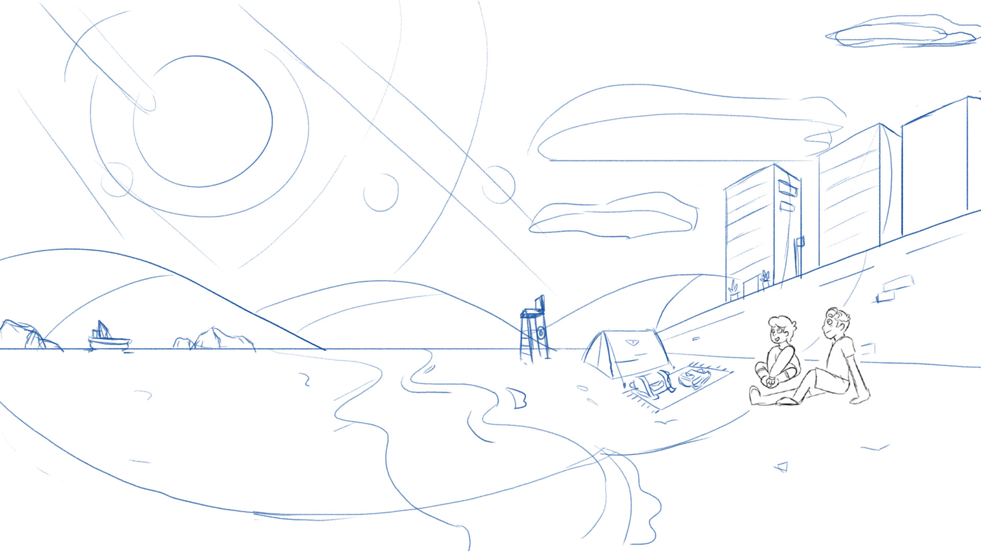 Beach Scene - Sketch.