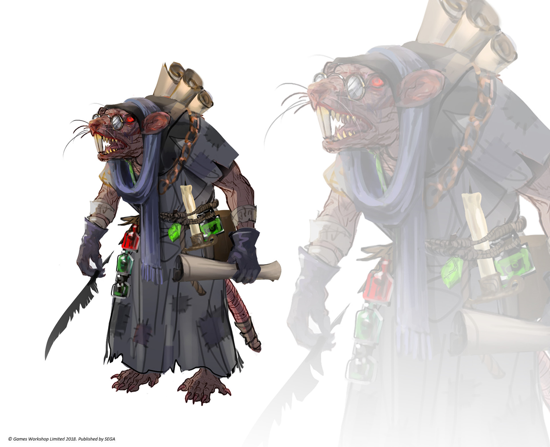 Sneek Scratchett - skaven scribe, hugely underestimated by rat society ;) One of the main characters in the Skaven Vortex storyline