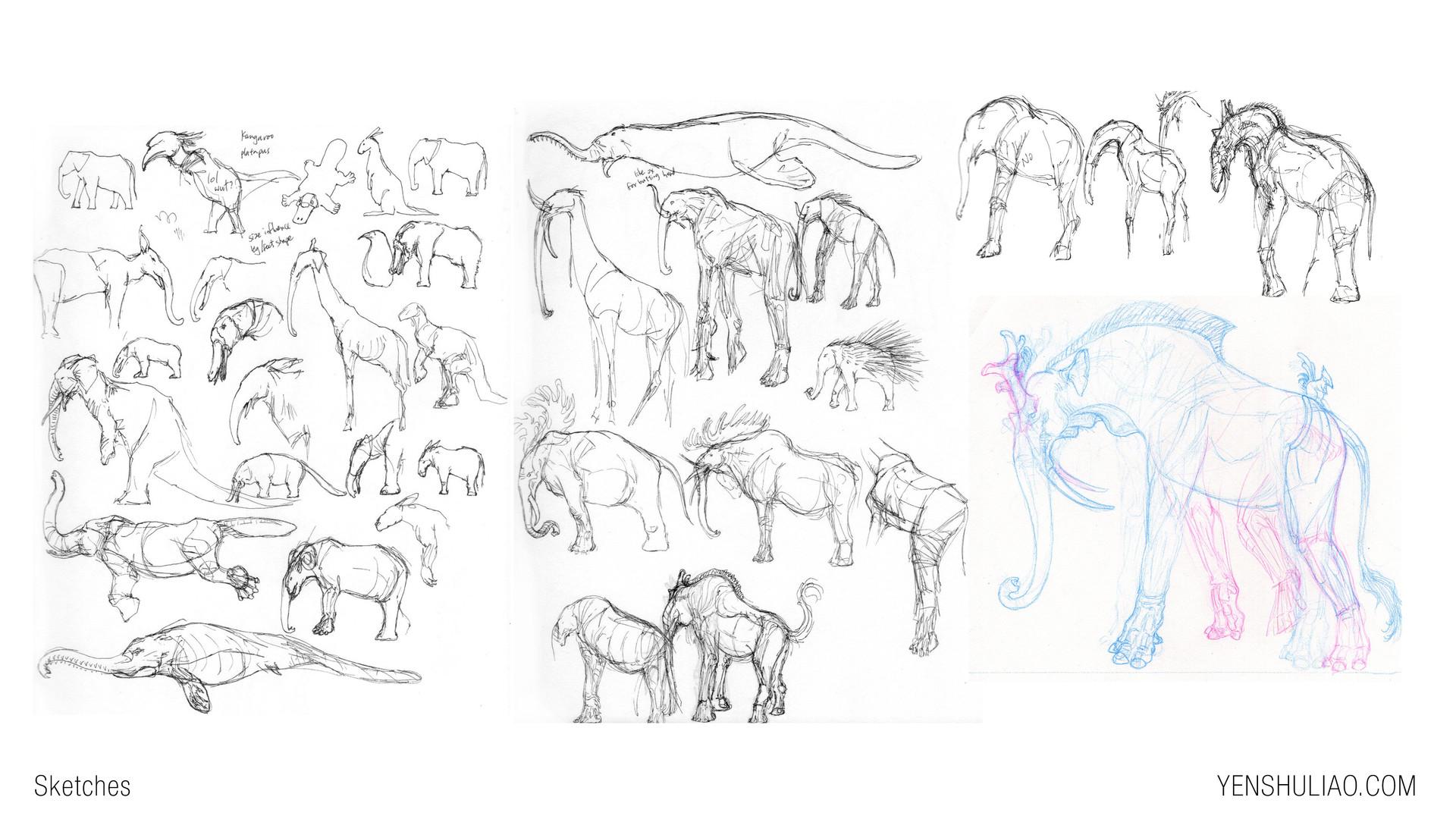 Yen shu liao creature concept art sketch elephant