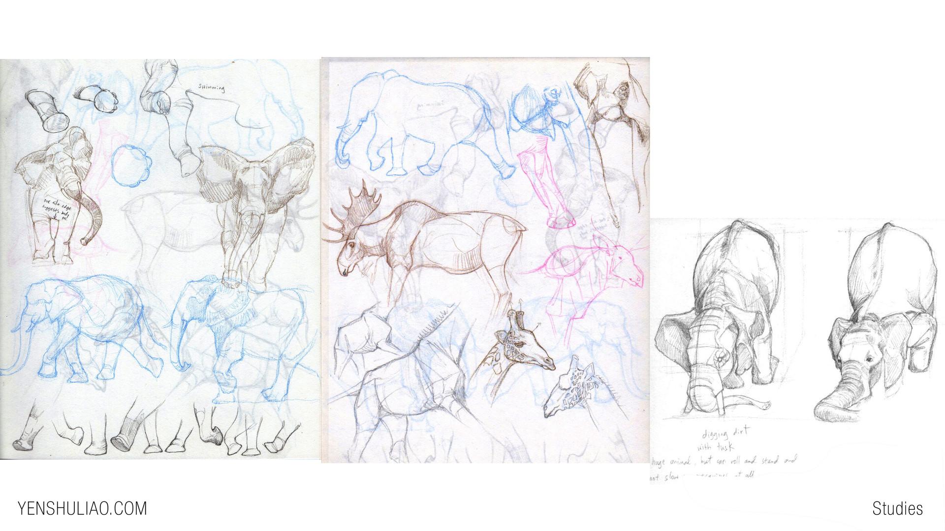 Yen shu liao creature concept art study elephant