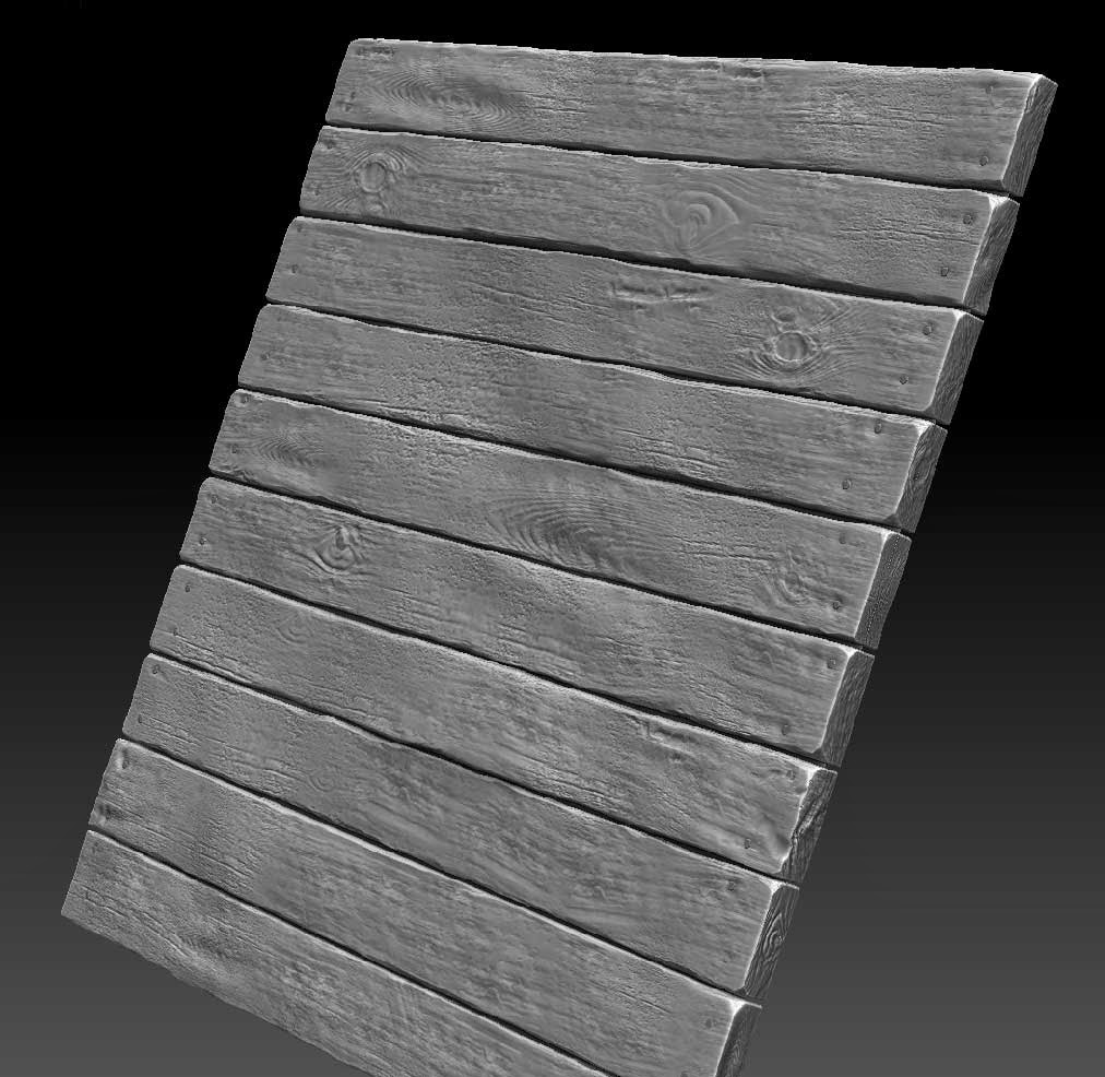 Z-Brush creation of plank geo. Nowadays I would definitely try to handle this via Substance designer if I was just after a material.