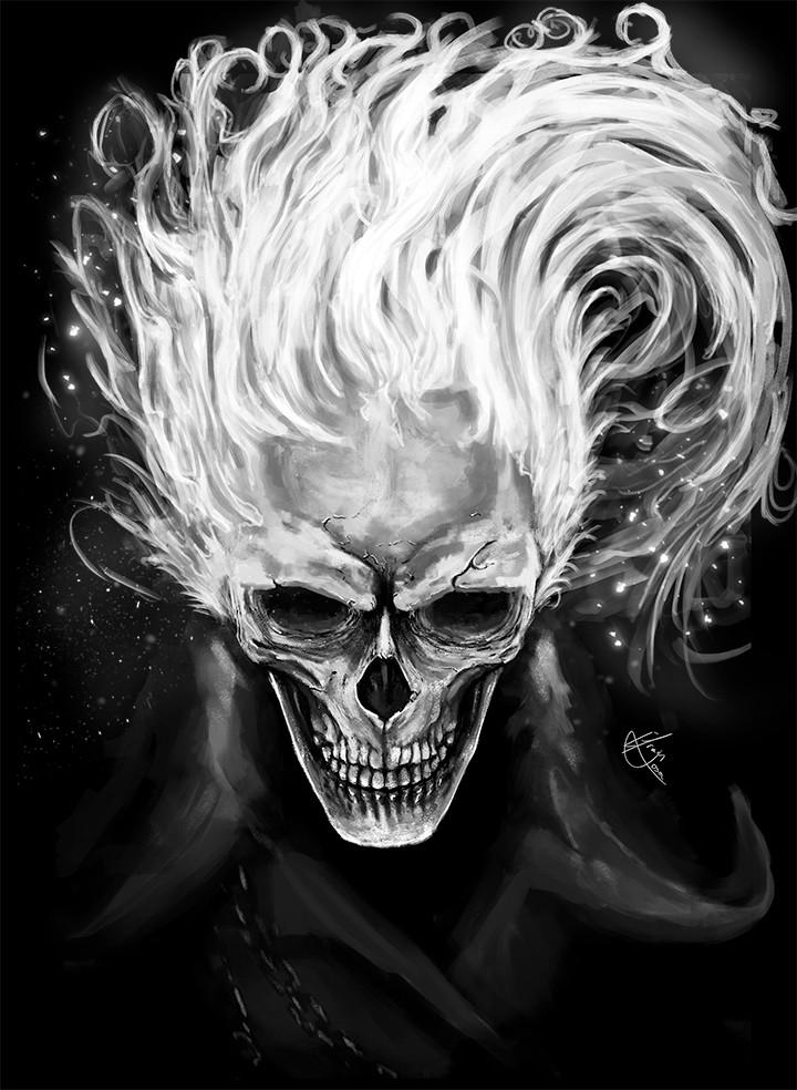 Efrain sosa skull in flames 720p by efrain sosa