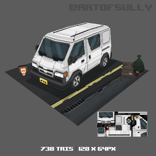 3D Pixel-Art Van (Commission)