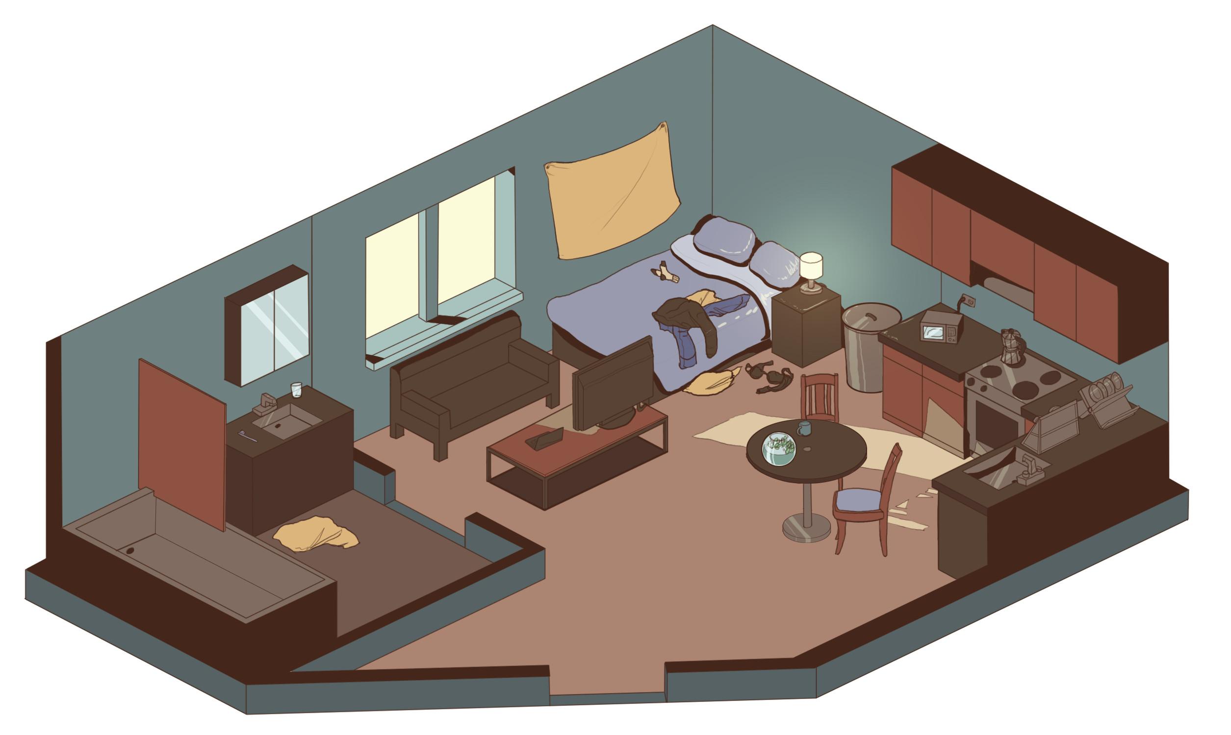 Interior studio apartment design
