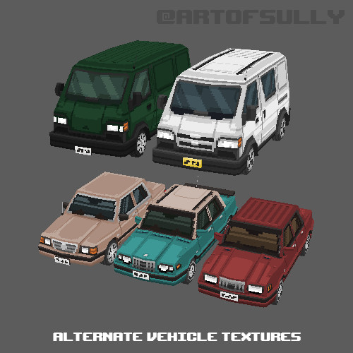 3D Pixel-Art Alternative Vehicle Textures (Commission)