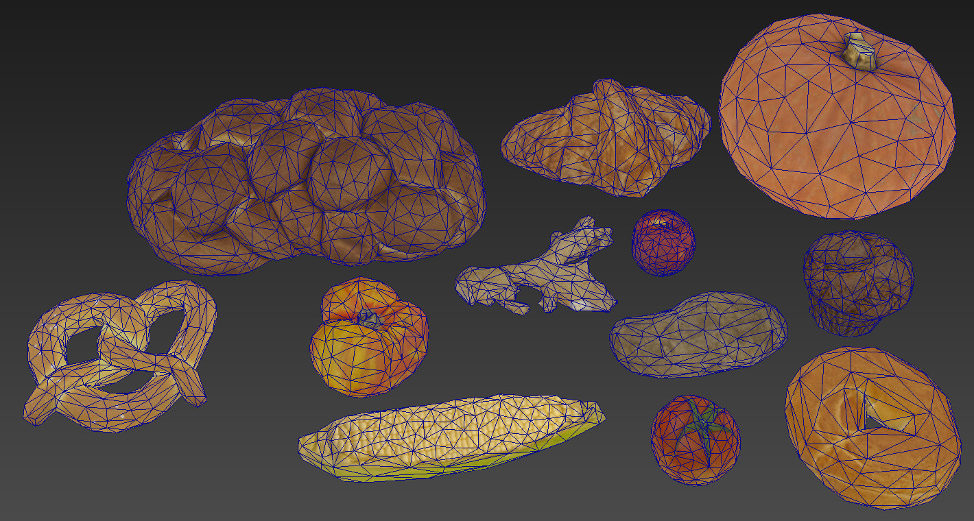 Wireframe of some of the food.