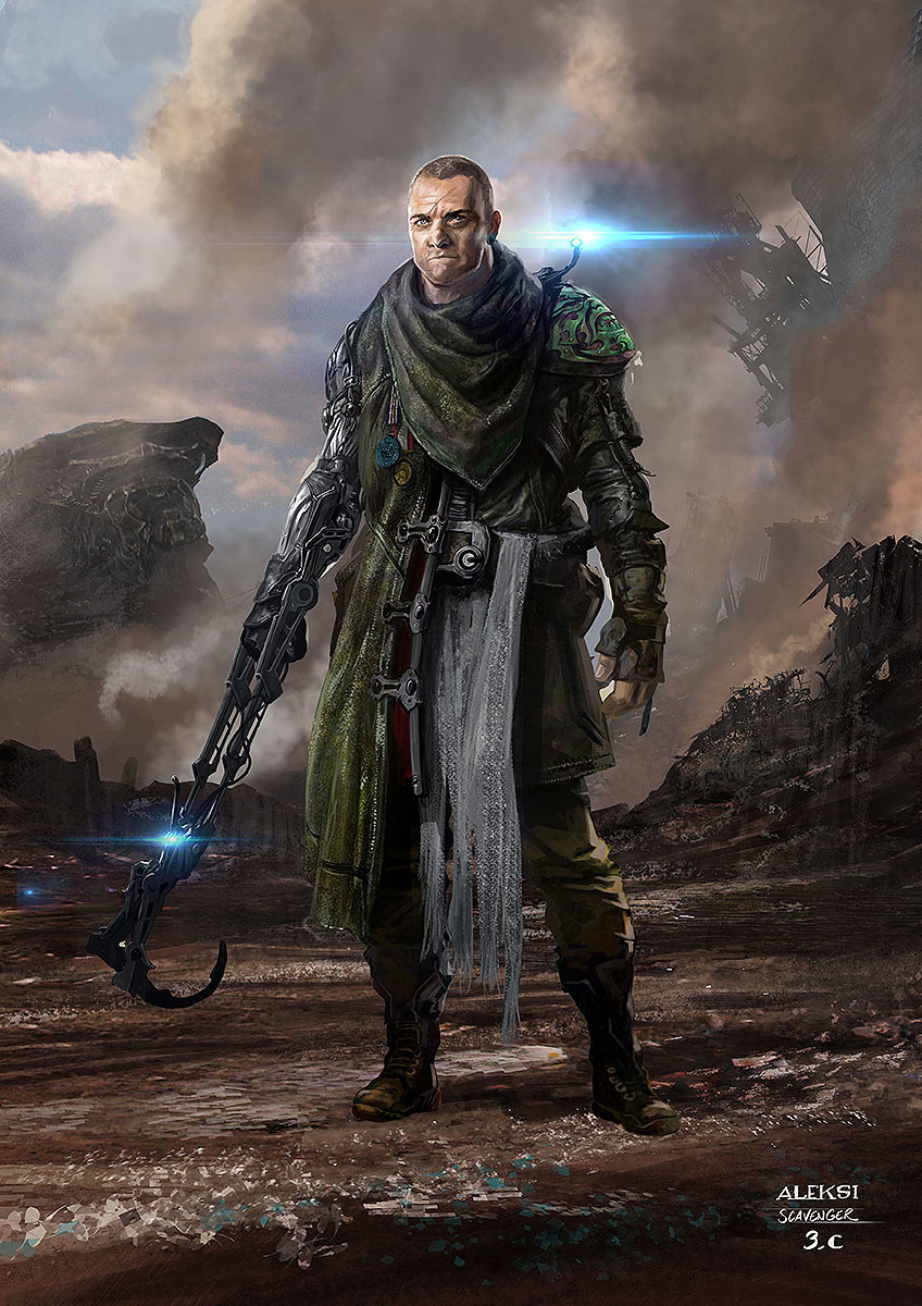A guy living in the garbage dump of the Saakar planet. And waiting for what could fall from the holes open in the sky. Stuff falling from other worlds like a Chitauri ship? His weird arm device allows him to search more efficiently in the garbages.