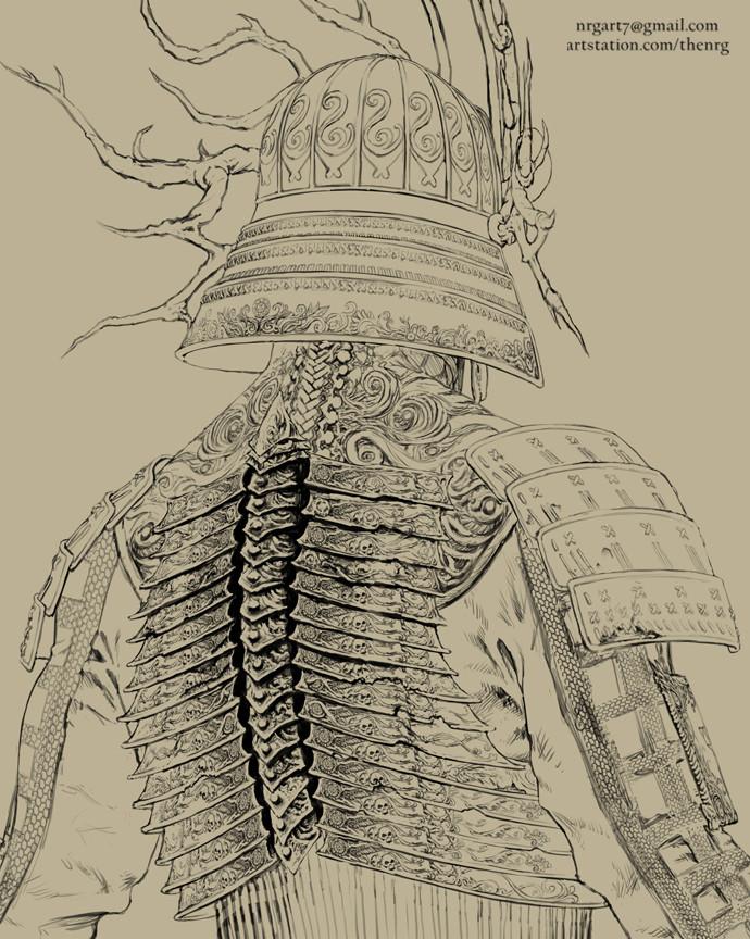 The nrg tsumetai ikari death samurai statue concept design by nrg crop13