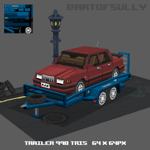 3D Pixel-Art Car Trailer (Commission)