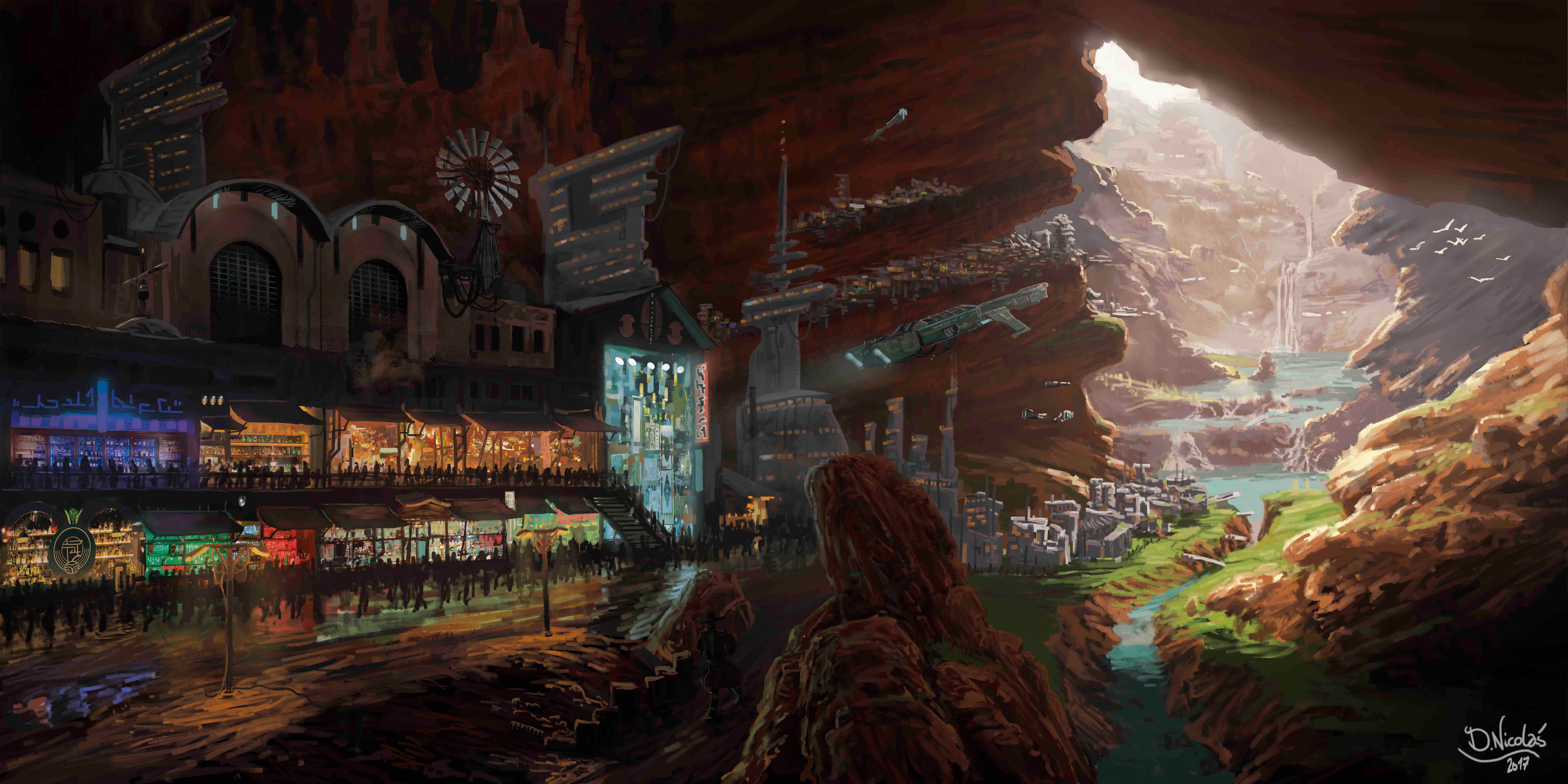 Underground harbor in the cave of the thousand lakes
