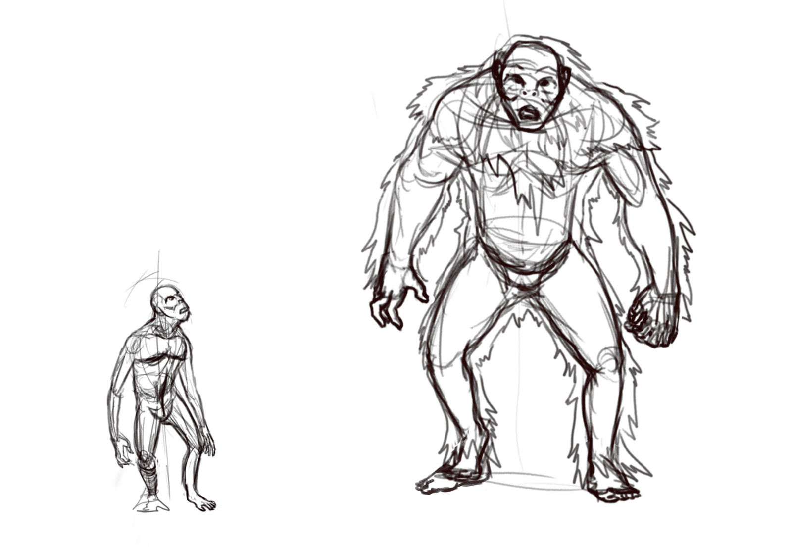 The sketches for the Orang Pendek and the Yeti.