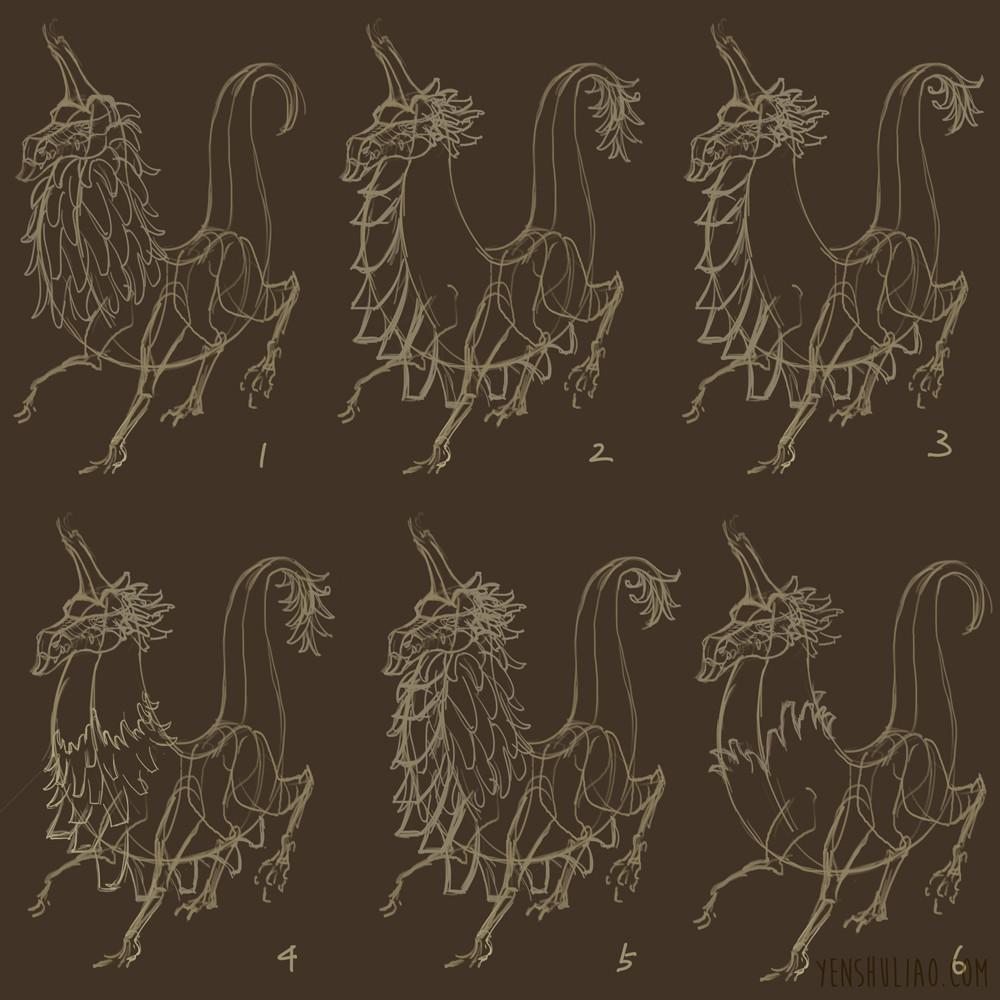 Yen shu liao creature concept banana dragon wip