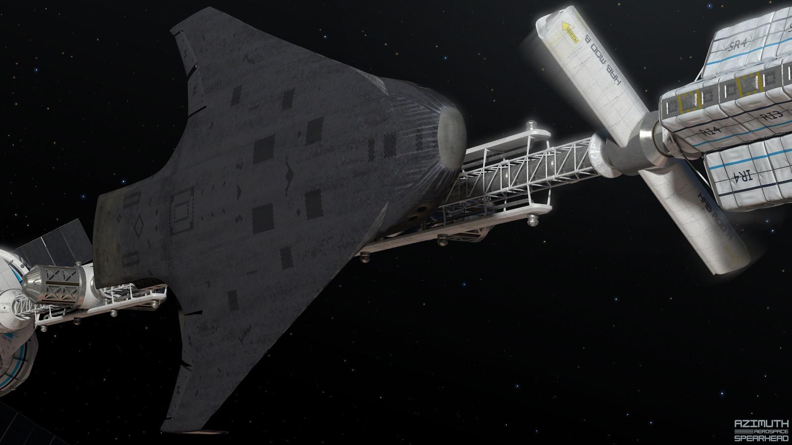Docked at an interplanetary vehicle