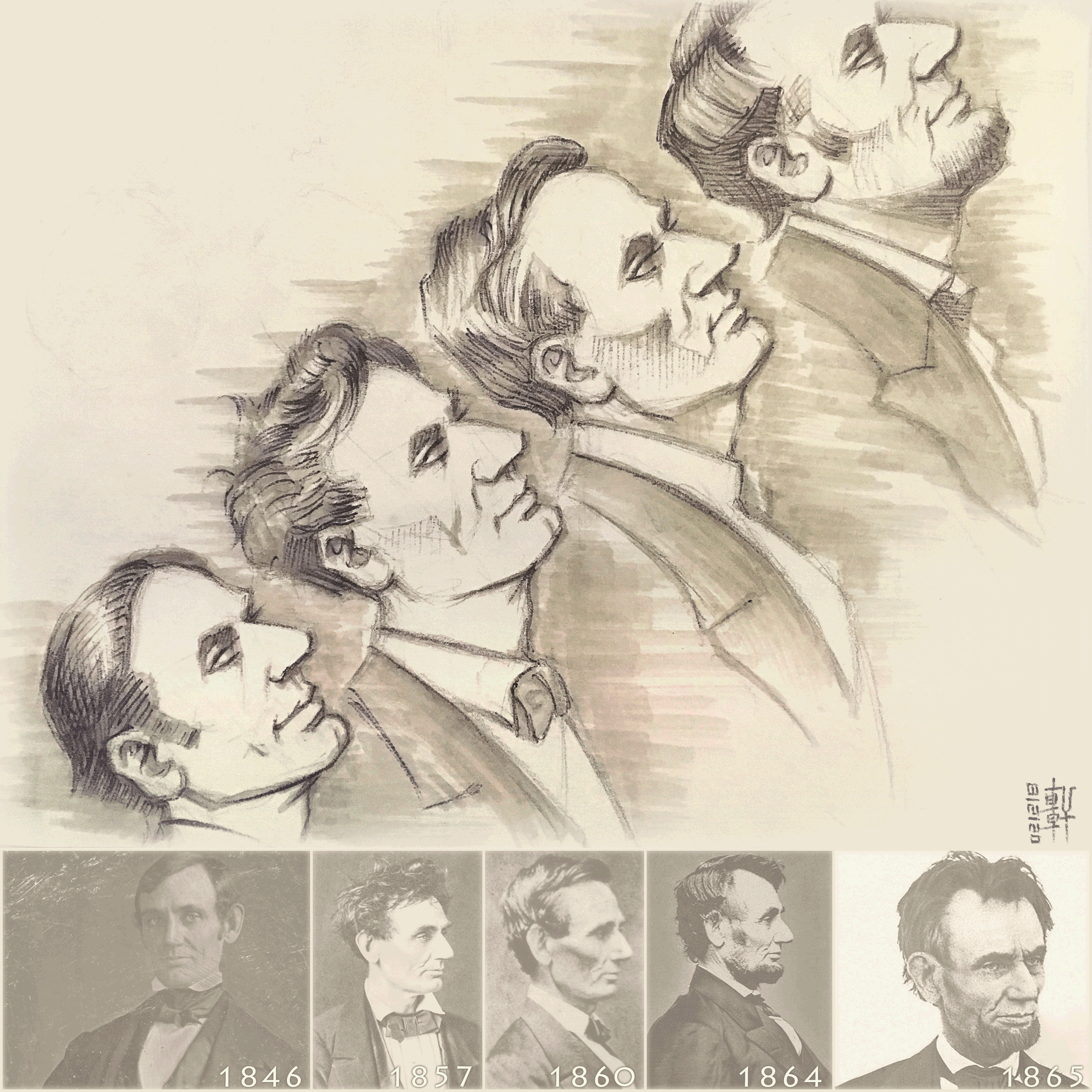 Day #15,145 - Abraham Lincoln in 4 Stages
