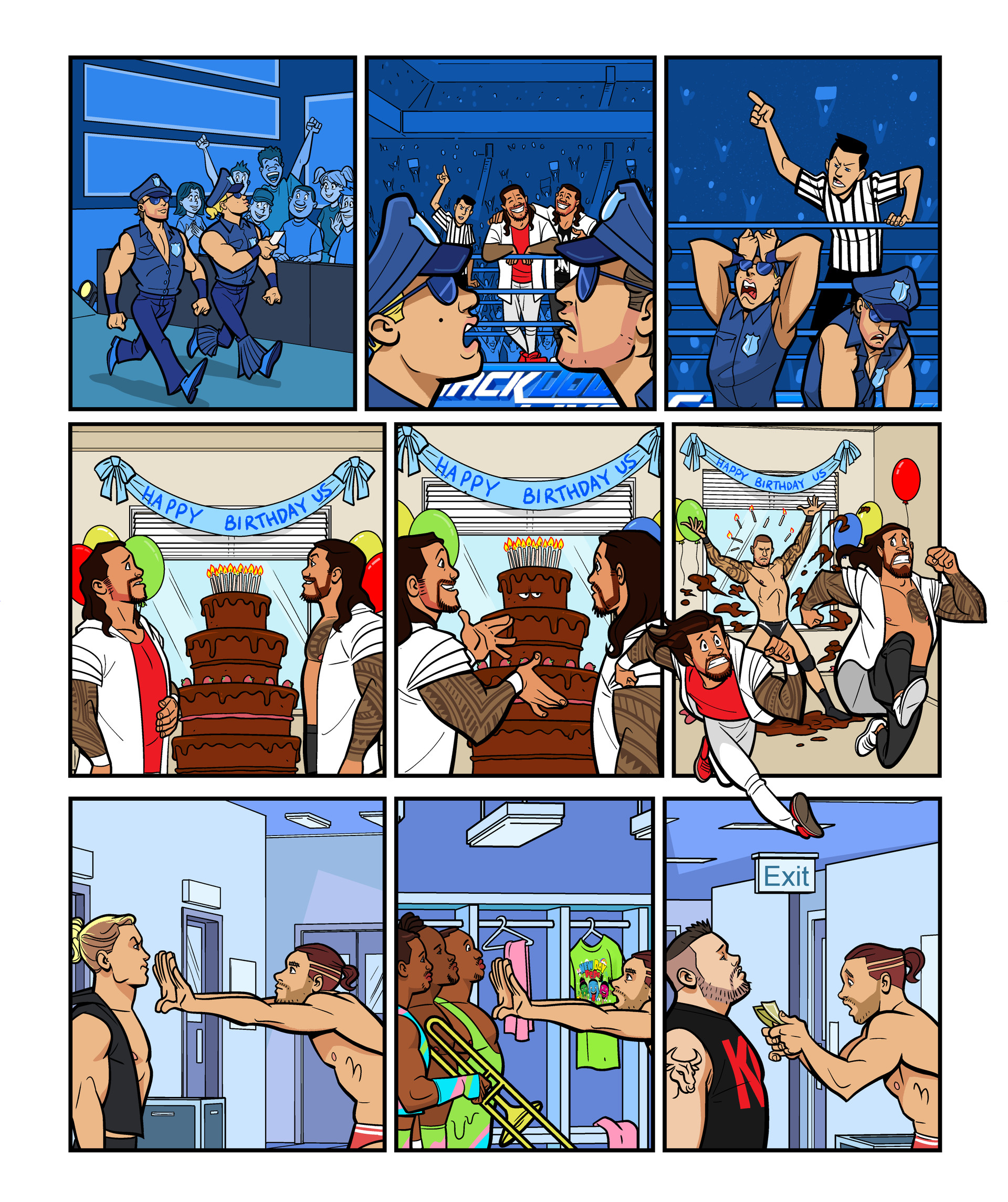 WWE Smackdown Live comic strips for WWE Kids Magazine #125