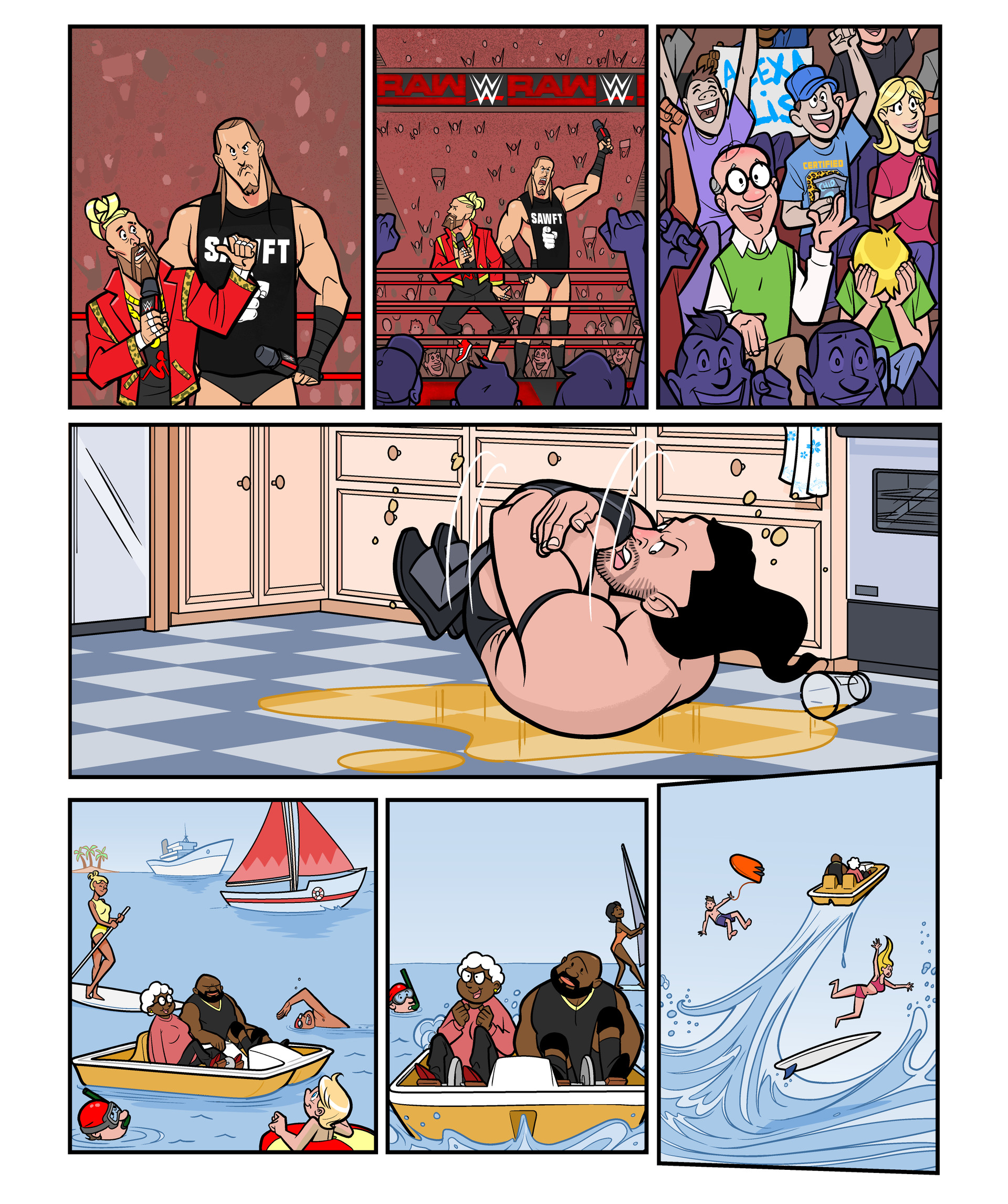 WWE RAW comic strips for WWE Kids Magazine #125