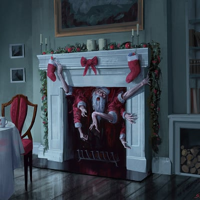 Stefan koidl santa in the fireplace
