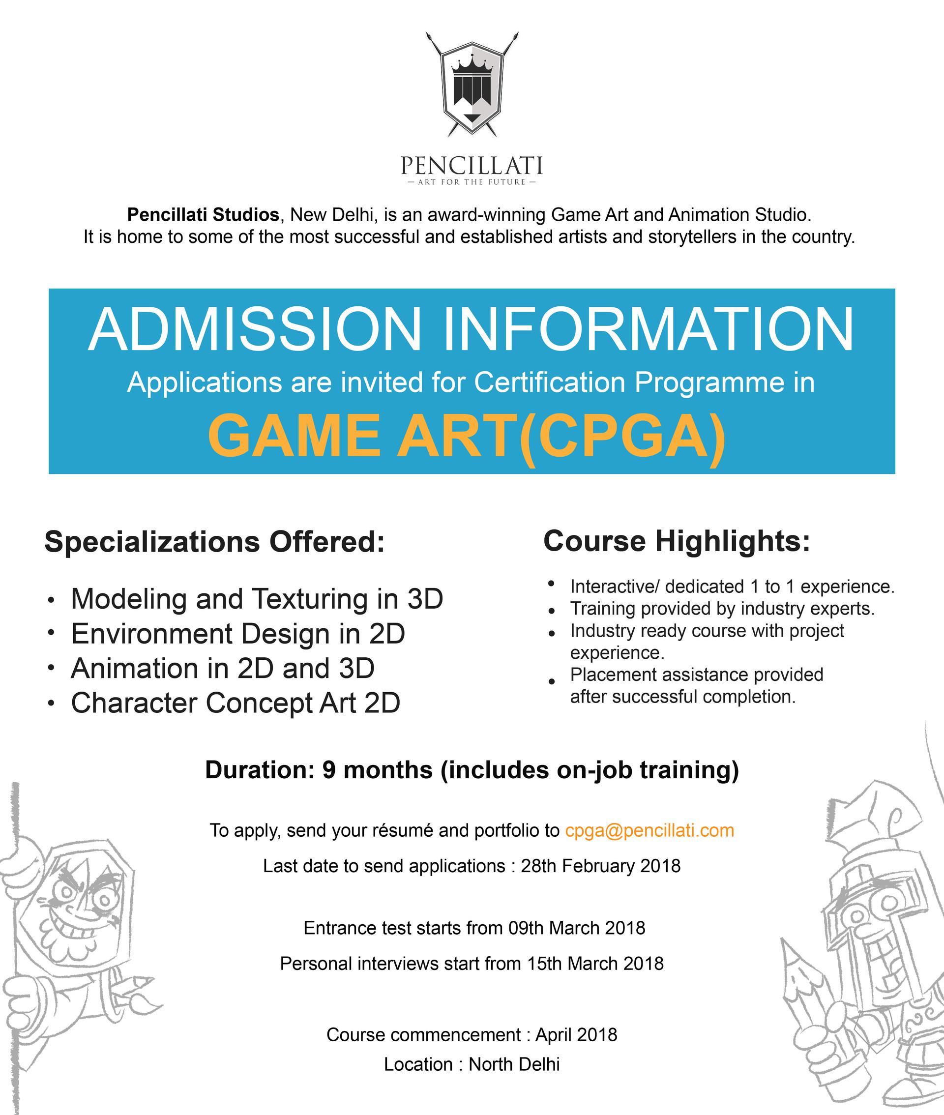 Pencillati Studios Certification Program In Game Art Cpga By