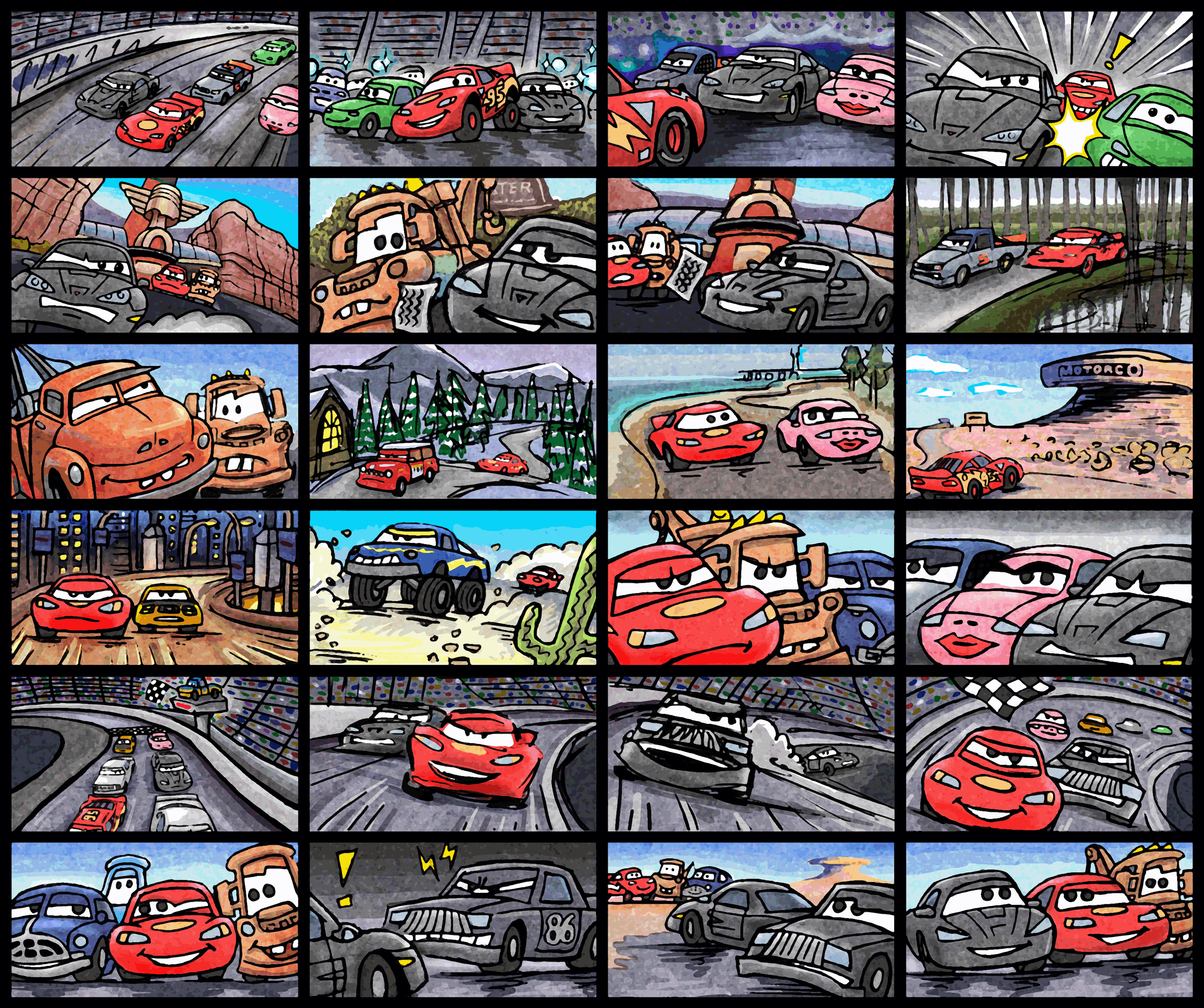 (2009) Storyboard - Cars: Race-O-Rama I