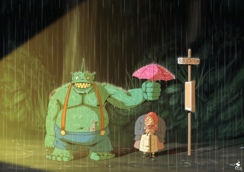 Totoro Style Custom Illustration - Patreon Commission