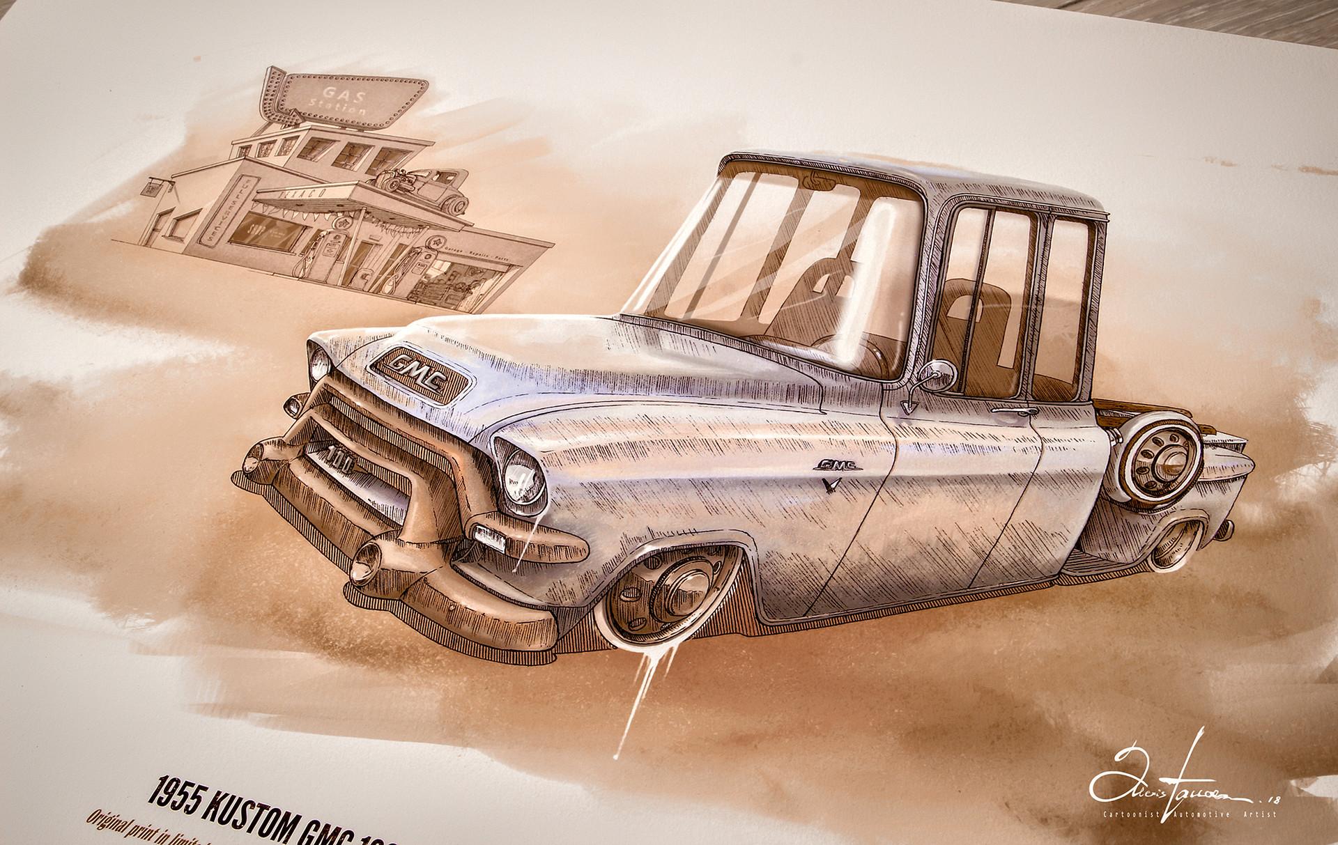 Alexis taccoen 1955 kustom gmc 100 extended pickup rendering low