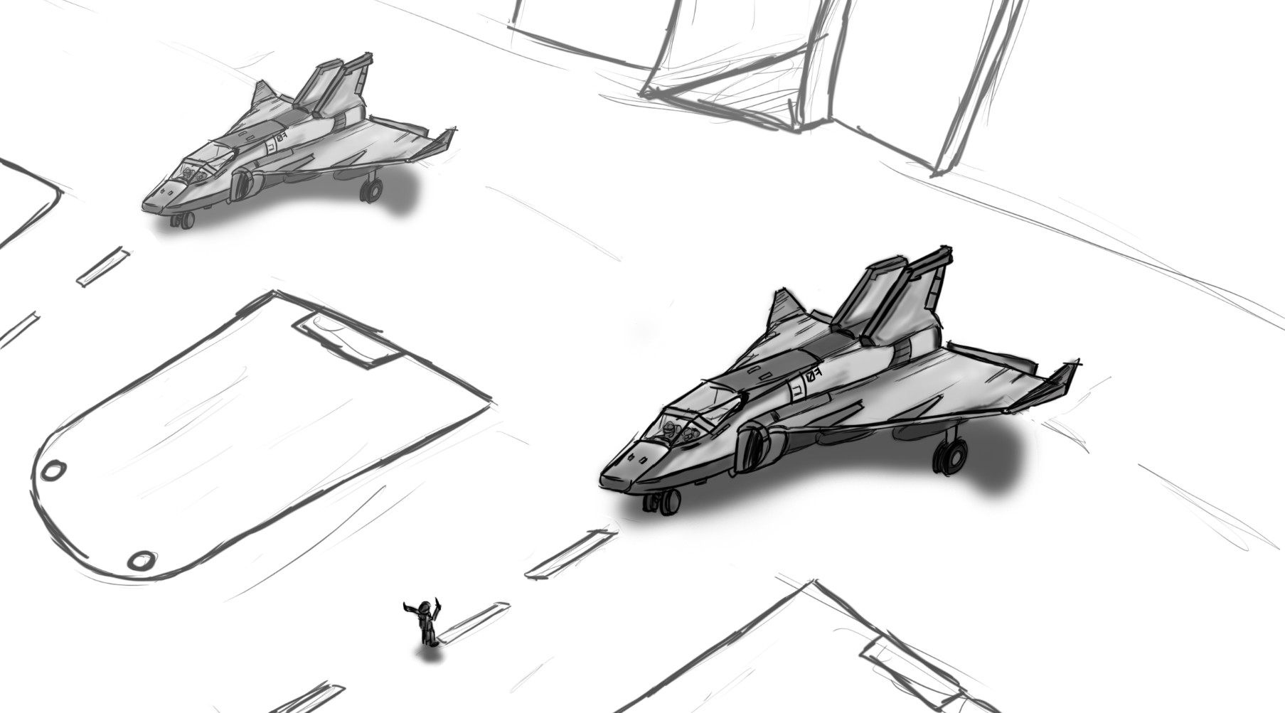 Initial sketch of the Goshawks.