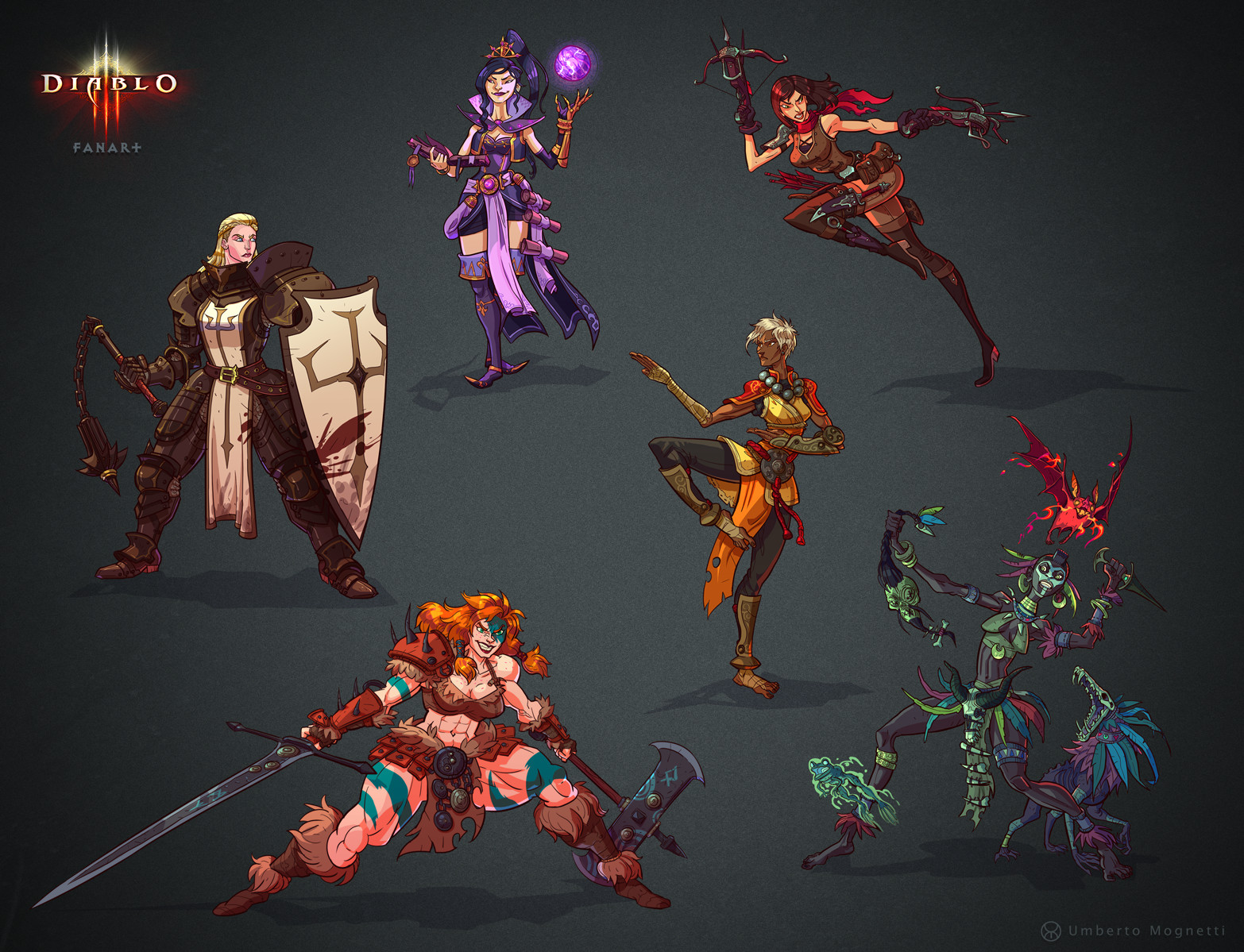ArtStation - Diablo 3 female classes Fanart, Umberto Mognetti