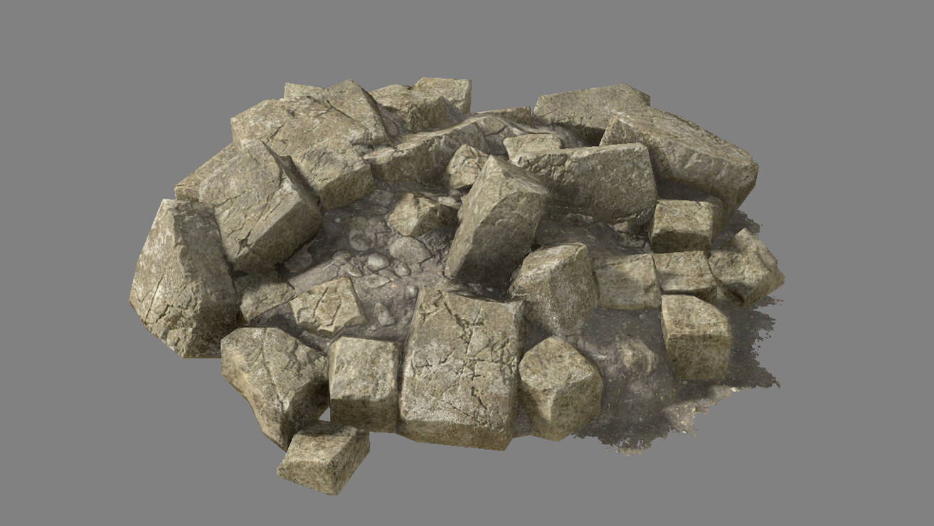 Collapsed blocks with dirt (single mesh, one material)