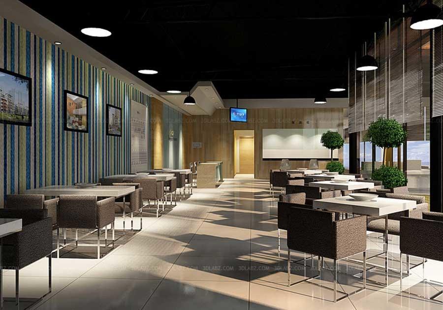 Attirant Restaurant Interior 3d Rendering