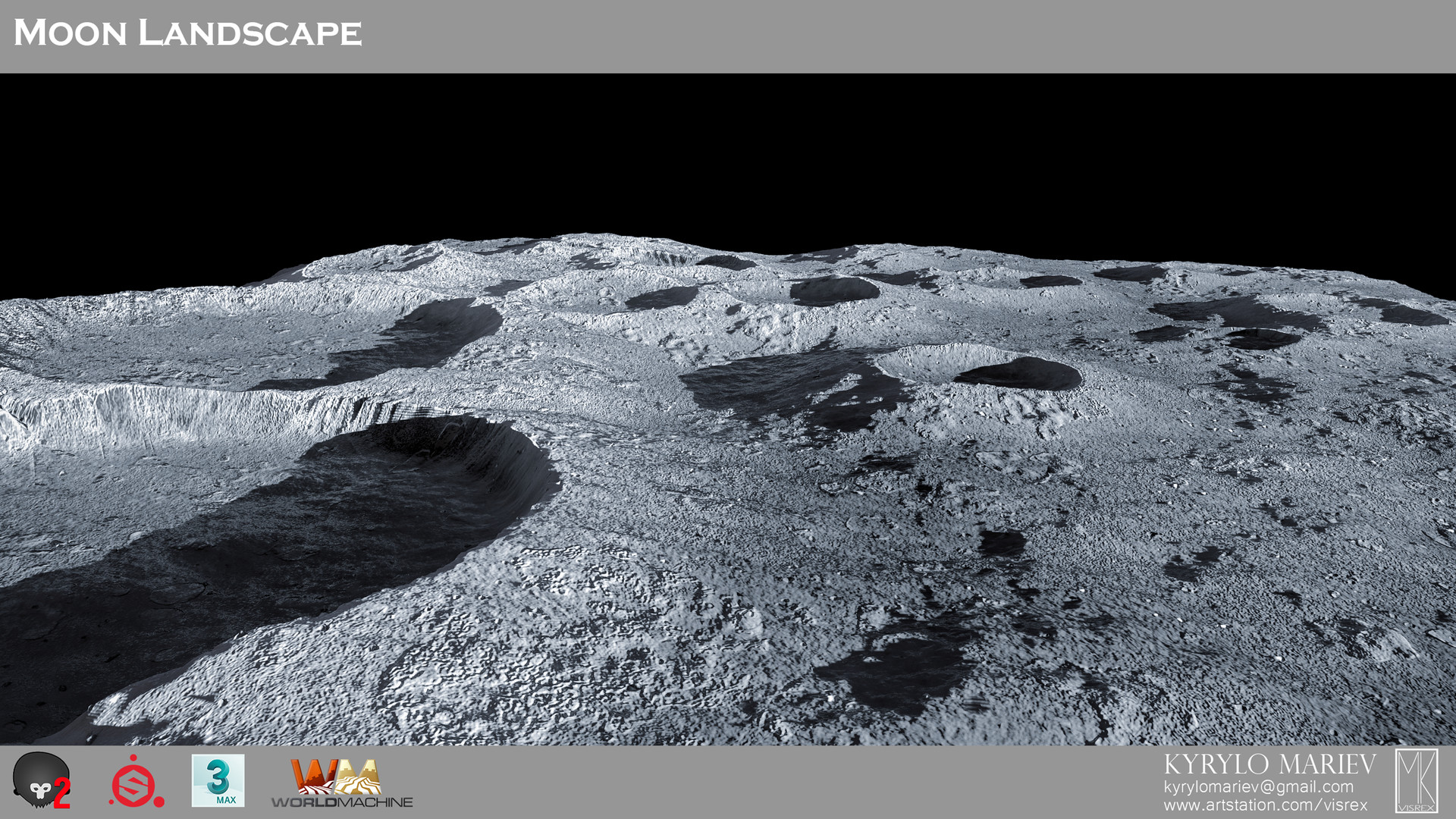 ArtStation - Moon Landscape (World Machine), Kyrylo Mariev