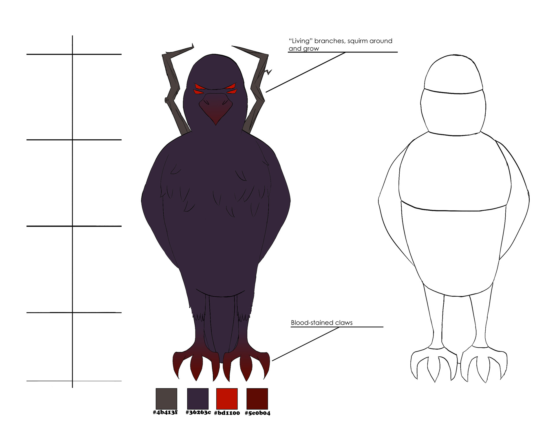 Josue canales demon crow model sheet