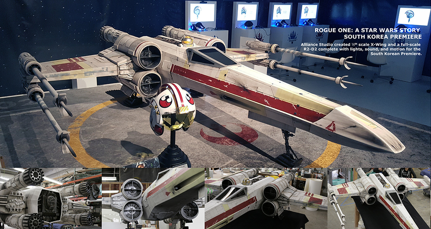 The finished X-Wing on display, with detail angles