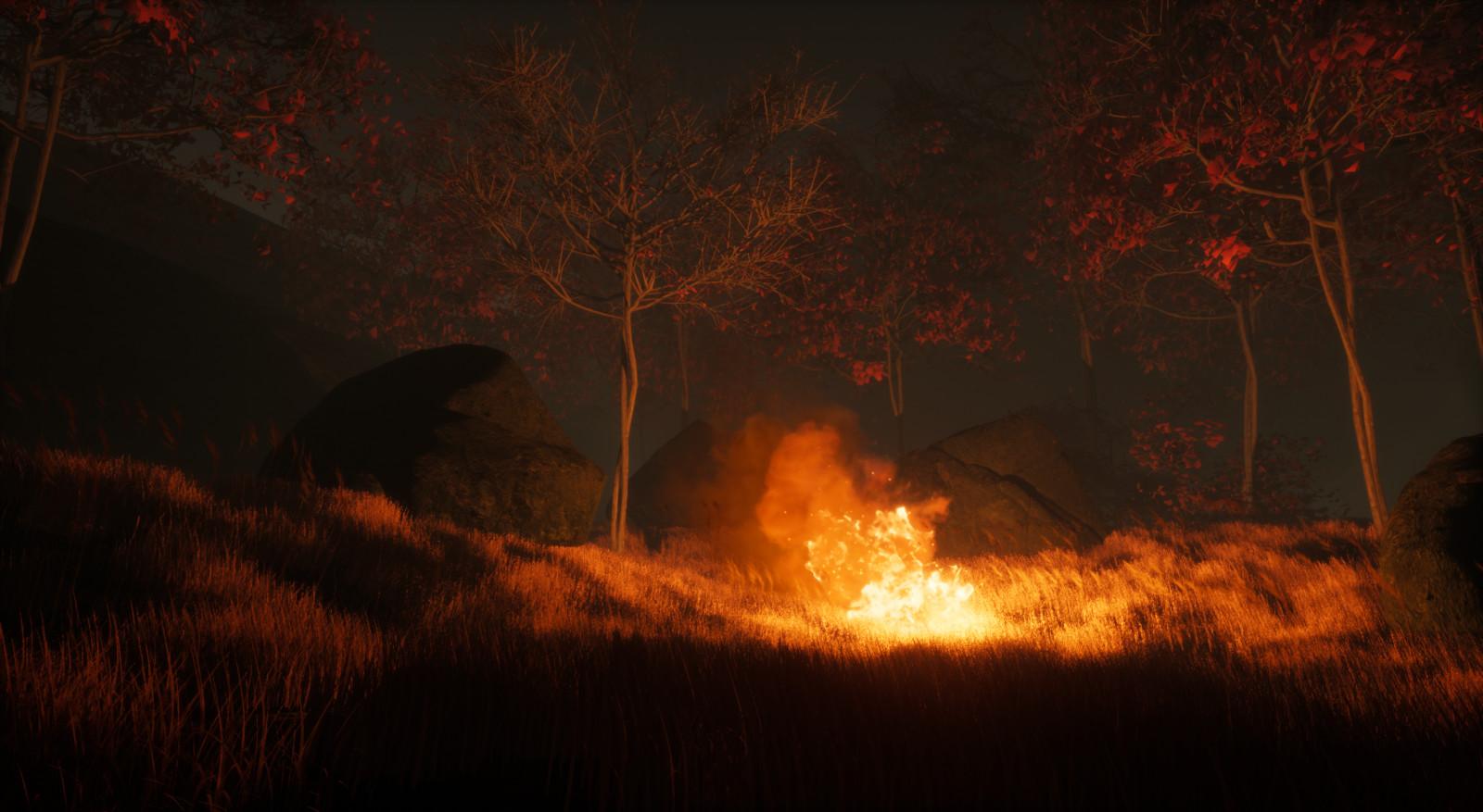No tent and rocks around fire -Progress shot