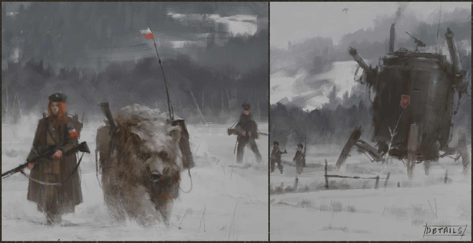 Jakub rozalski 1920 winter patrolsa