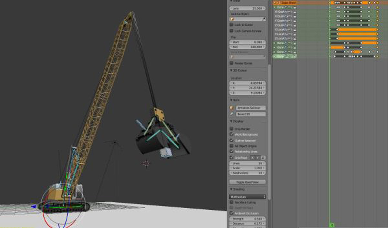 Construction Vehicle 2 - Rope Crane Low Poly and Rigged in Blender